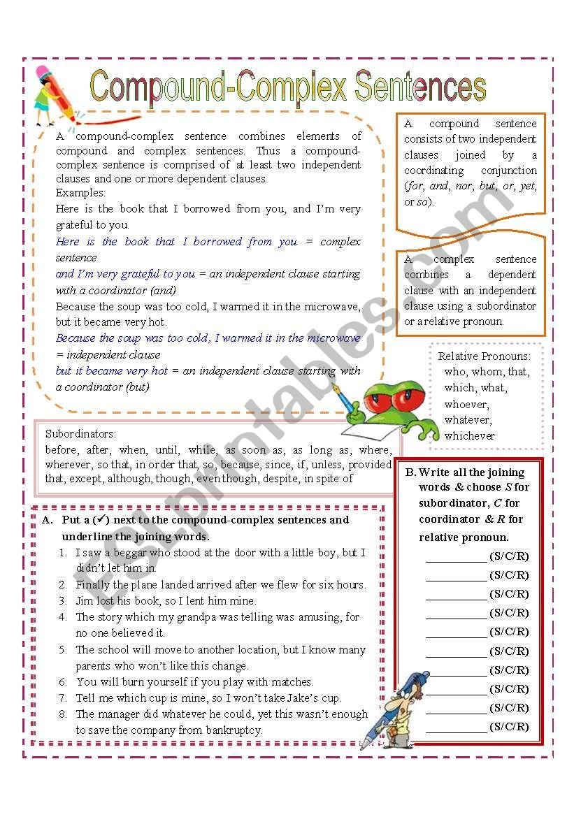 compound complex sentences esl worksheet by missola