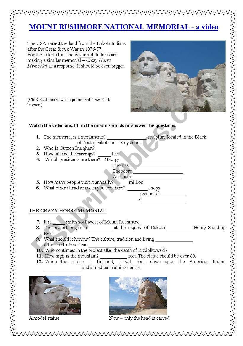 RUSHMORE MEMORIALS worksheet