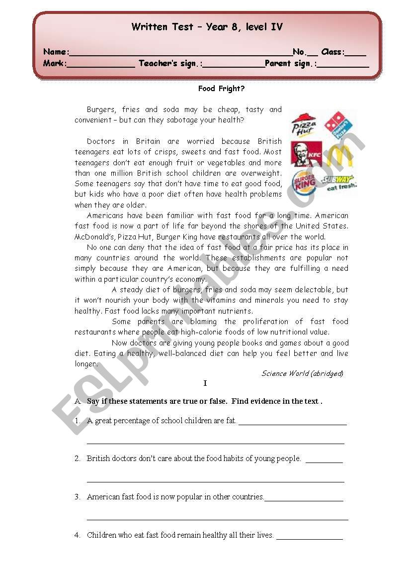 written test (4 pages) about fast food/ healthy/ unhealthy food