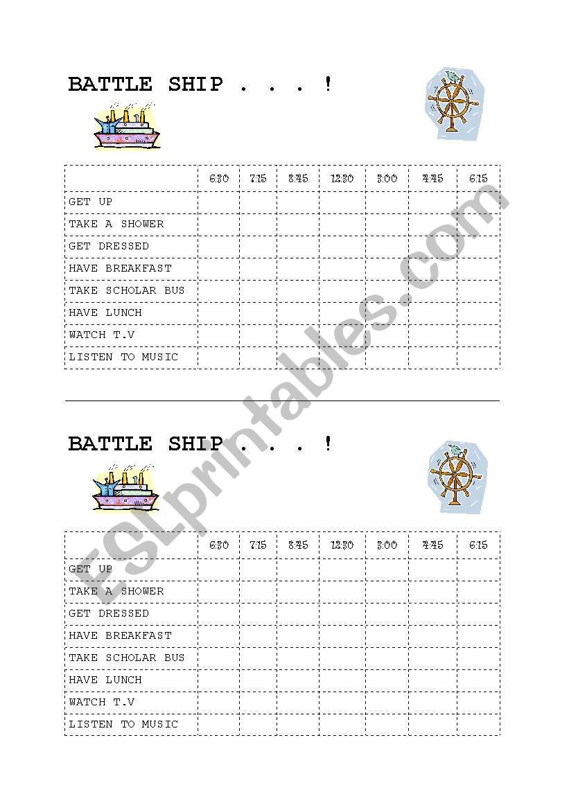 Battle Ship time worksheet