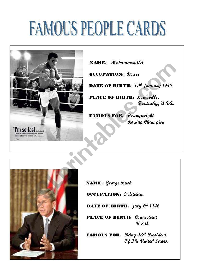 Famous People Cards (1) worksheet