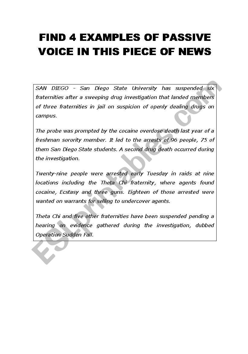 English worksheets: newspaper article + passive voice