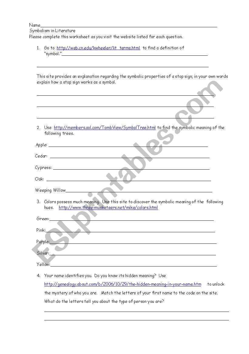 symbolism in literature worksheet pdf