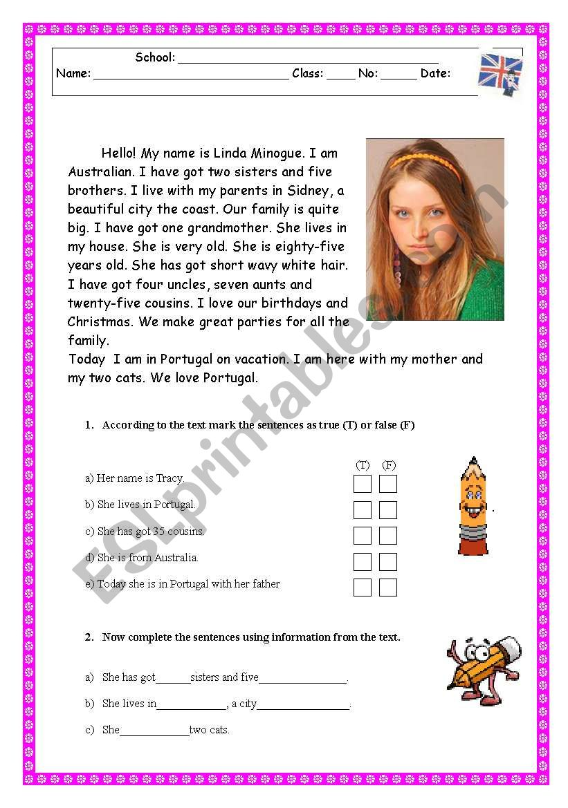 - Reading Comprehension Test/Worksheet - Family/Physical Description