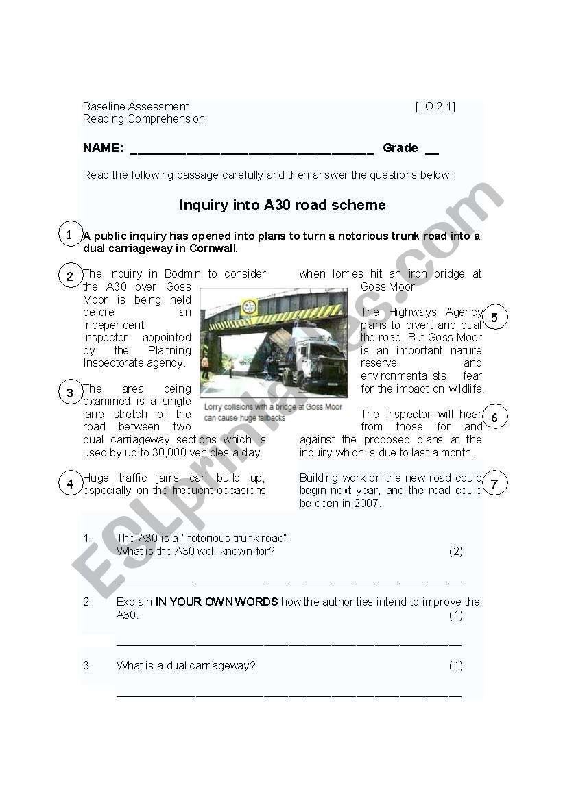 reading comprehension theme transport road accidents esl worksheet by joalkaster. Black Bedroom Furniture Sets. Home Design Ideas