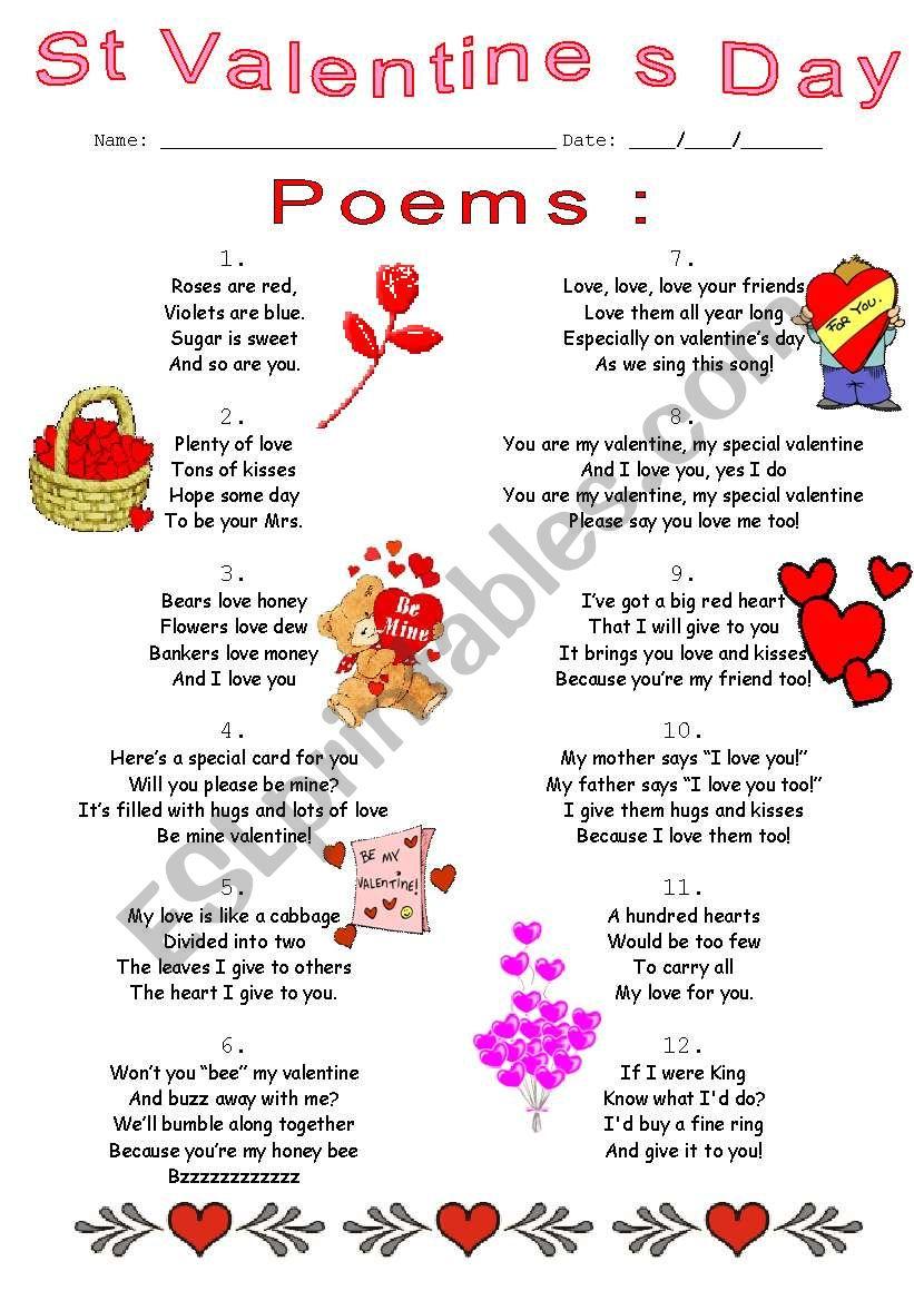 poems worksheet