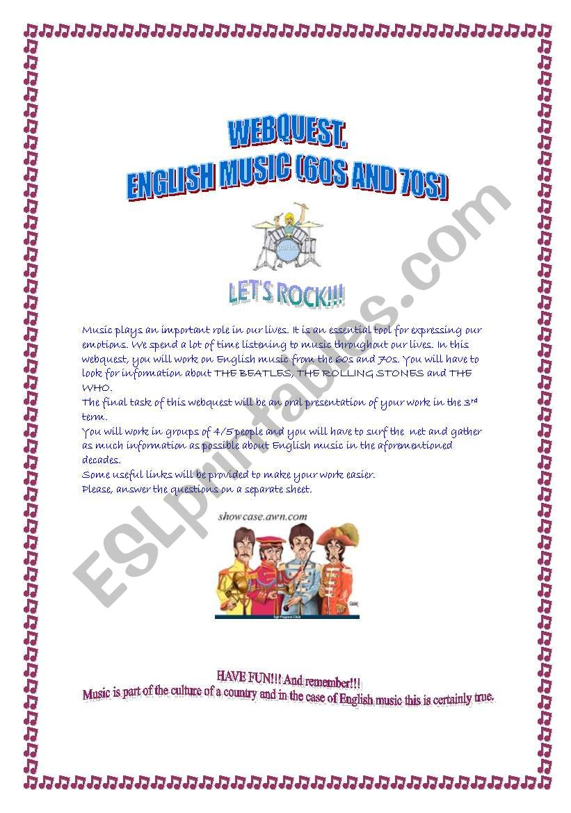 WEBQUEST, English music (60s and 70s), PART1 (The Beatles)
