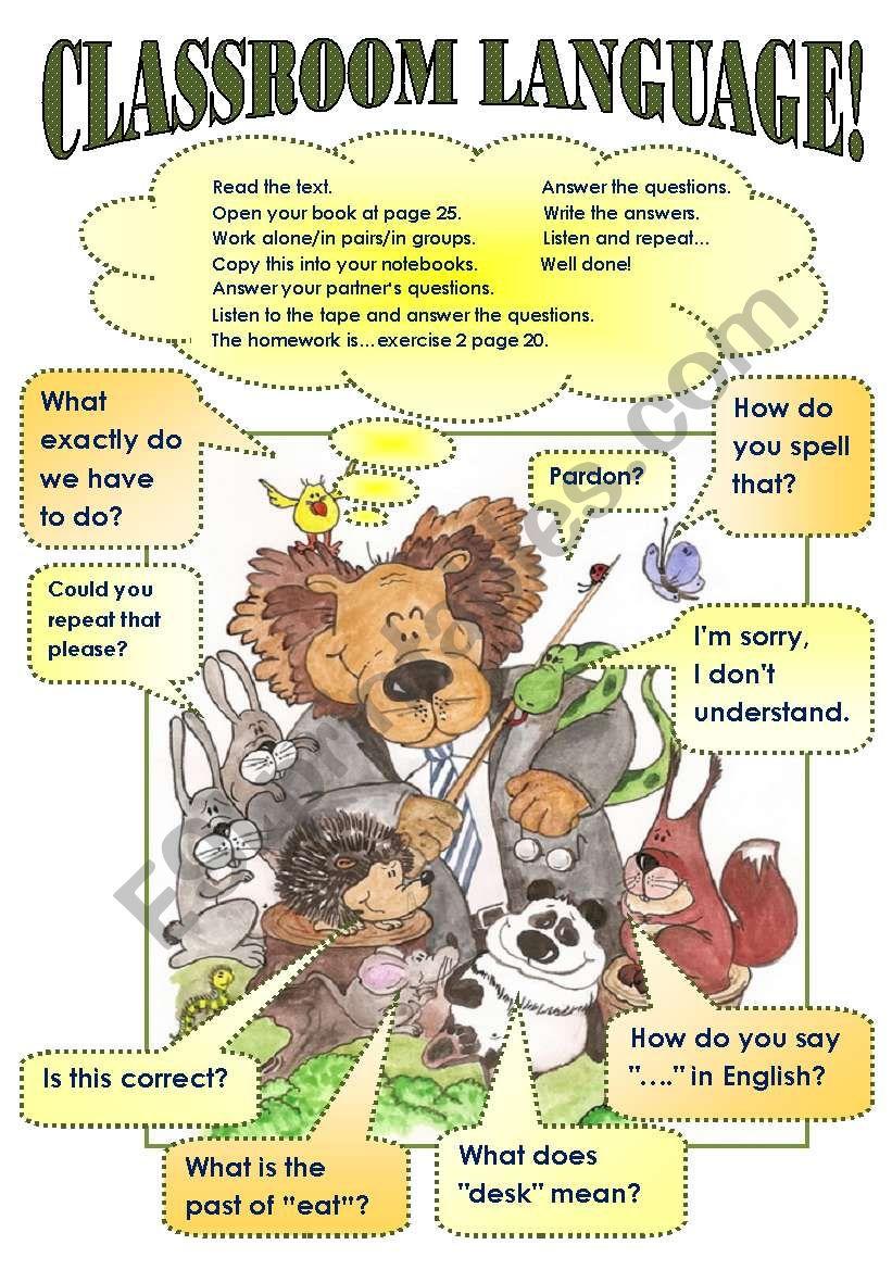 CLASSROOM LANGUAGE POSTER! worksheet