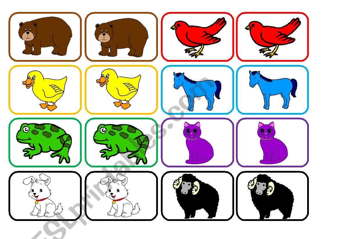 Brown Bear cards worksheet