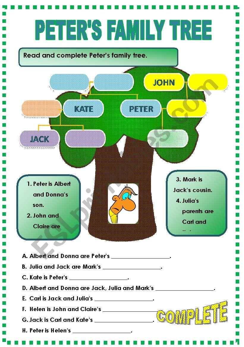 PETER´S FAMILY TREE worksheet