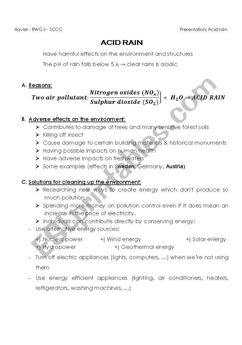 English worksheets Presentation   ACID RAIN