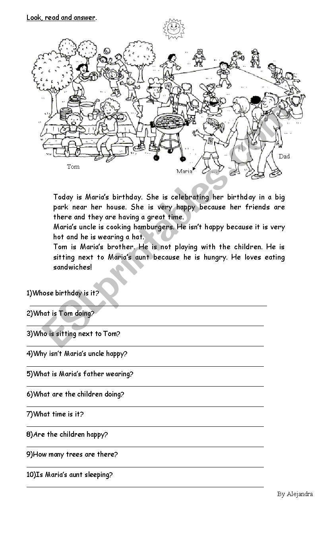 Birthday party worksheet