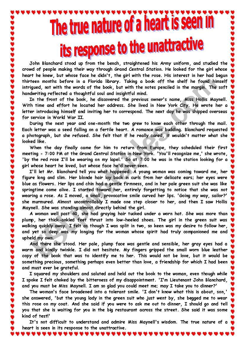a VERY romantic story worksheet