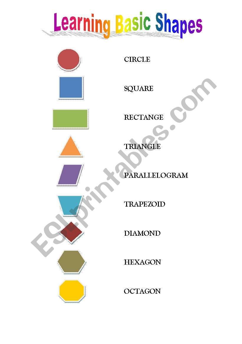 Basic Shapes - ESL worksheet by nabila47