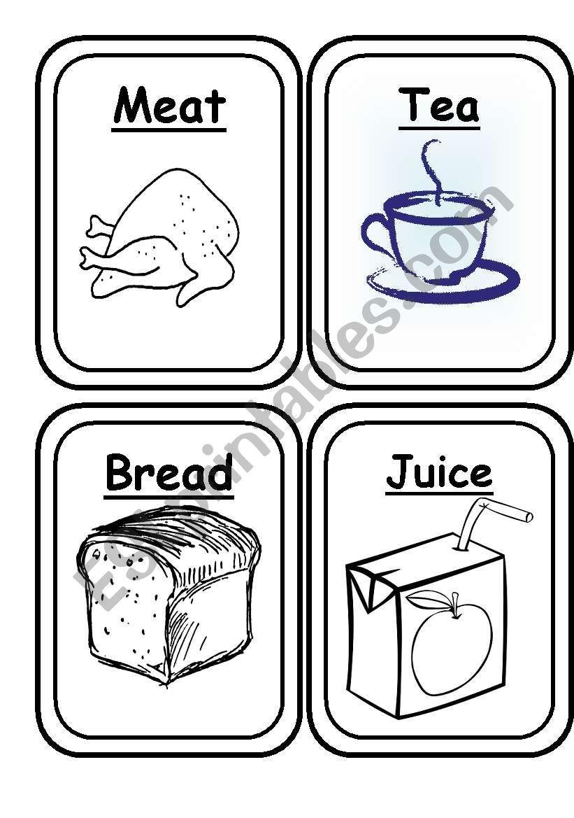 Food Flashcards Black And White 20 Flashcards Esl Worksheet By Bea