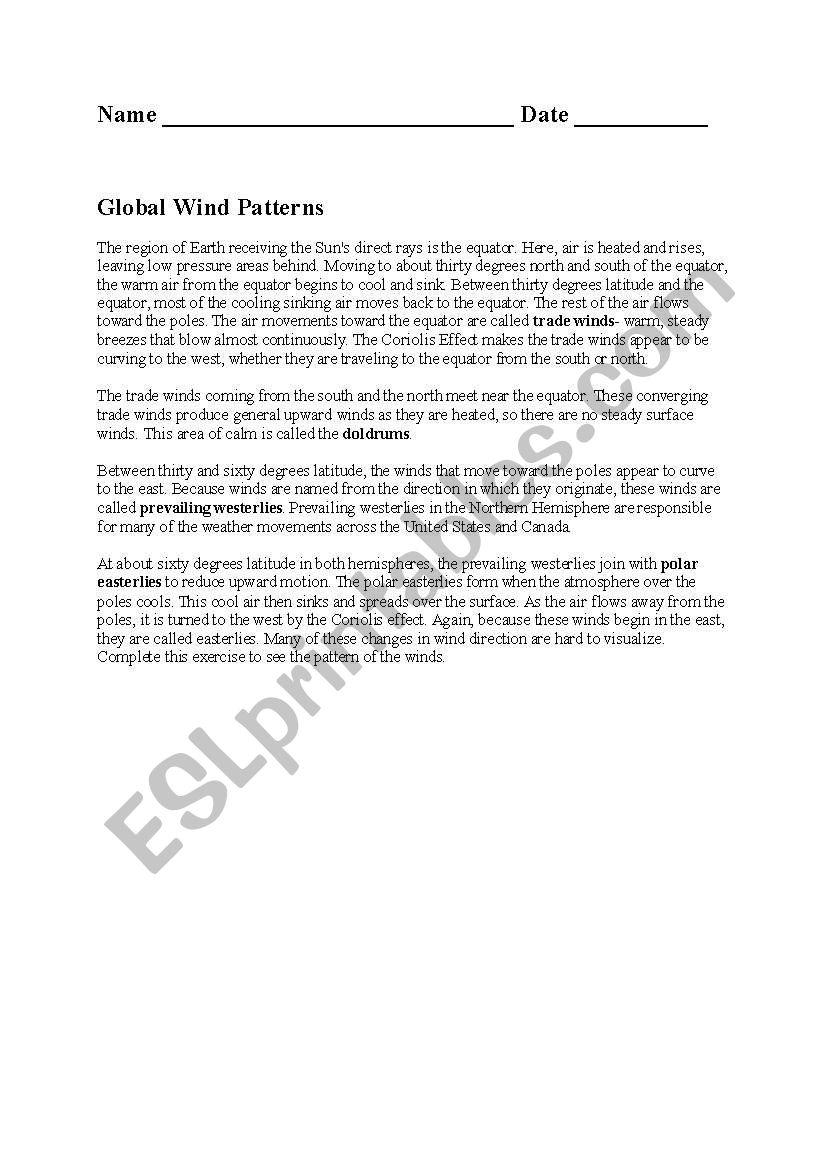 English Worksheets Global Wind Patterns
