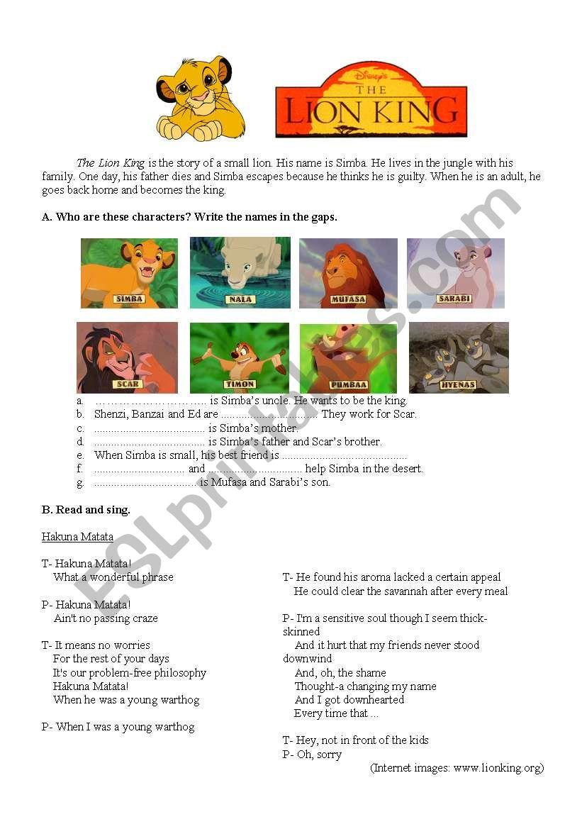 The Lion King worksheet