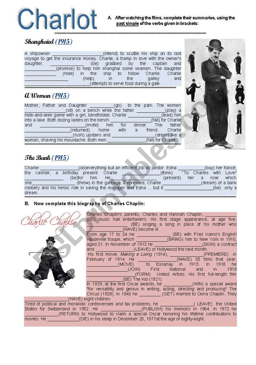 Charlot - Simple Past worksheet