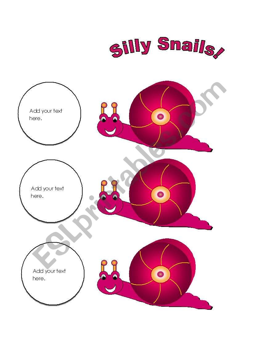 Snail Cards (Add your own text.) Use them with my snail gameboard.