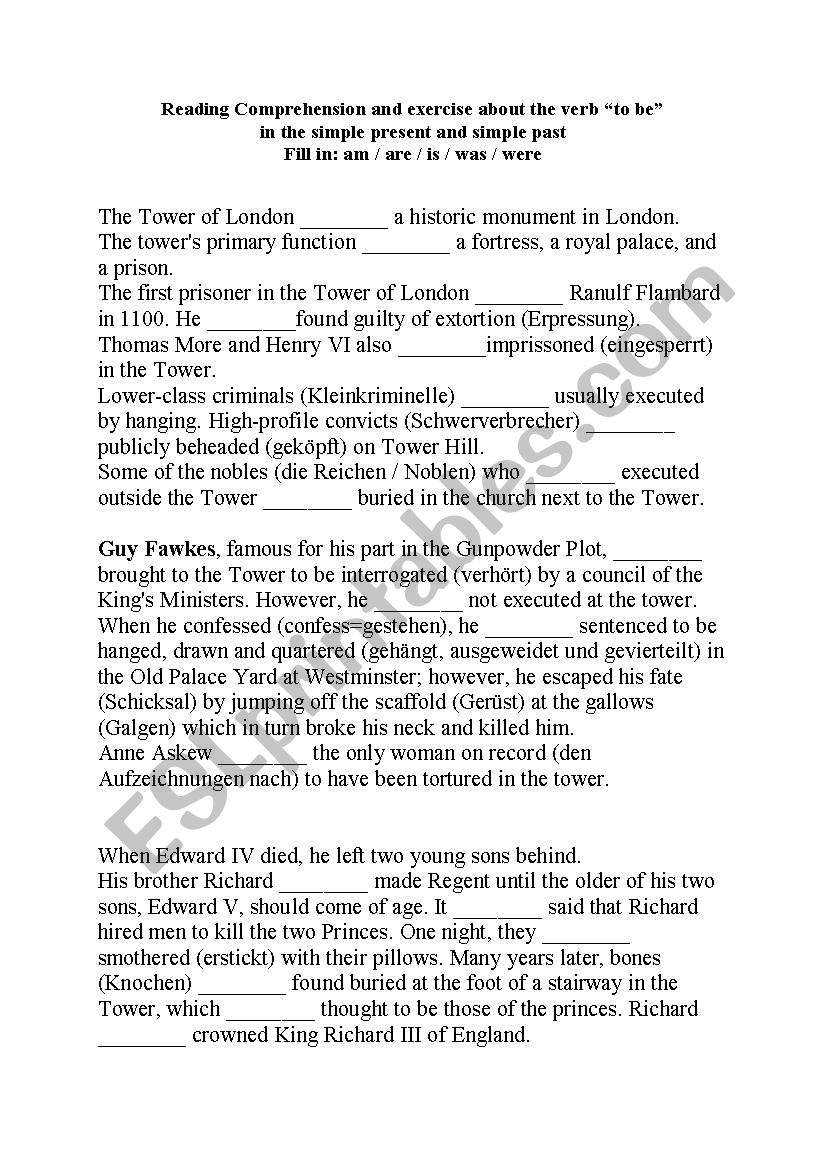 Reading Comprehension about the Tower of London and Guy Fawkes including exercises about the verb