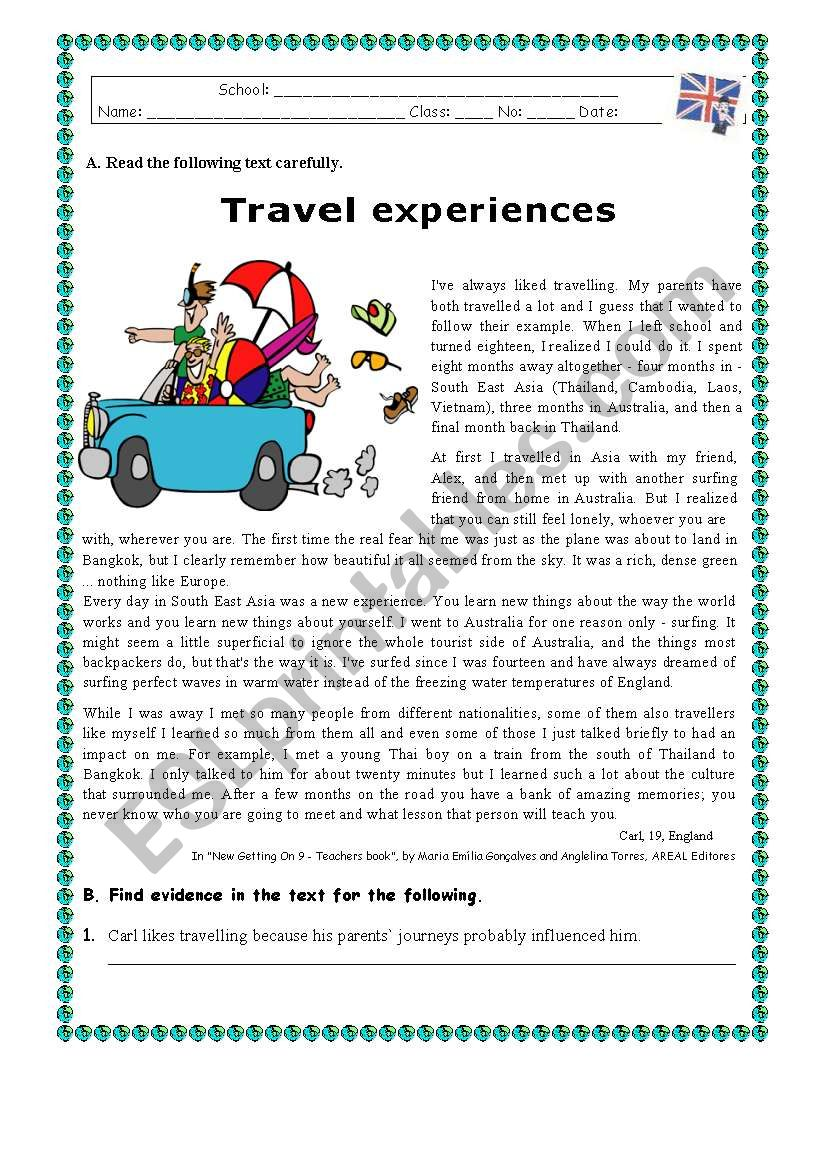 TRAVEL EXPERIENCES worksheet