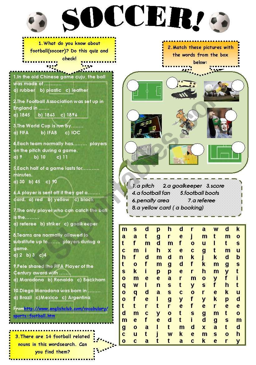 SOCCER! - vocabulary and reading comprehension set ( 3 pages + answer keys)