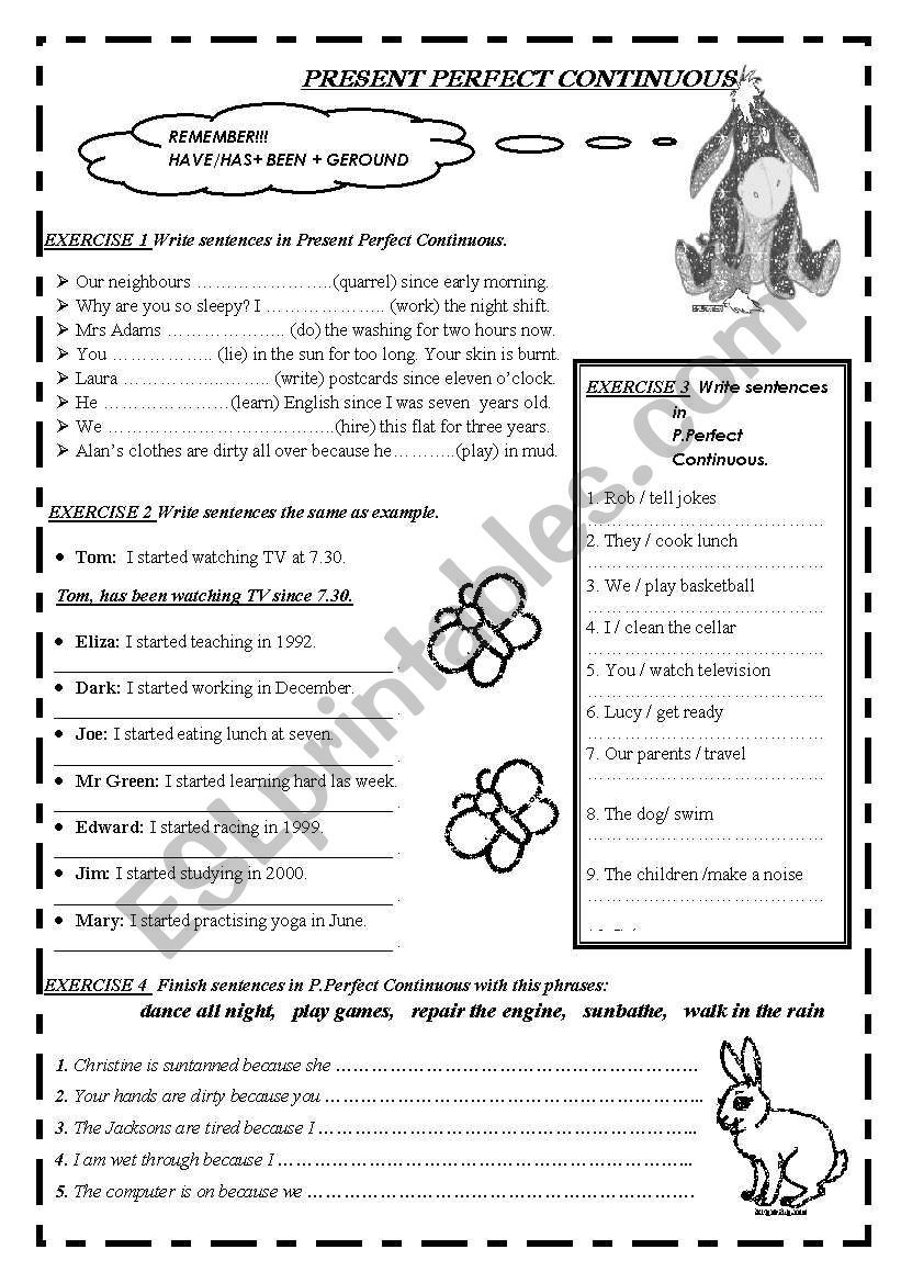 PRESENT PERFECT CONTINUOUS B-W 2PAGES