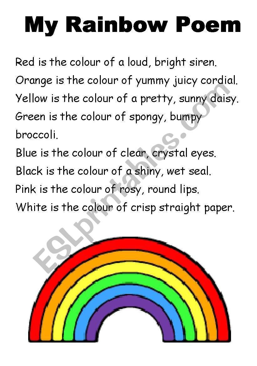 My Rainbow Poem worksheet