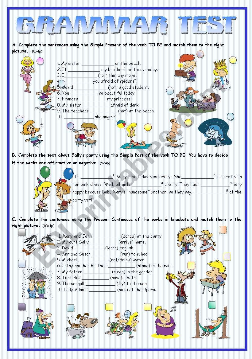 GRAMMAR TEST worksheet