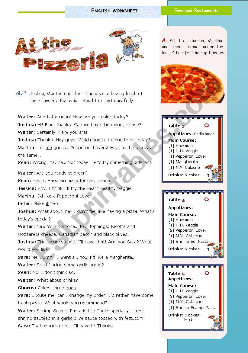 At the Pizzeria  - a 90-minute lesson of my Task  on Food and Restaurants