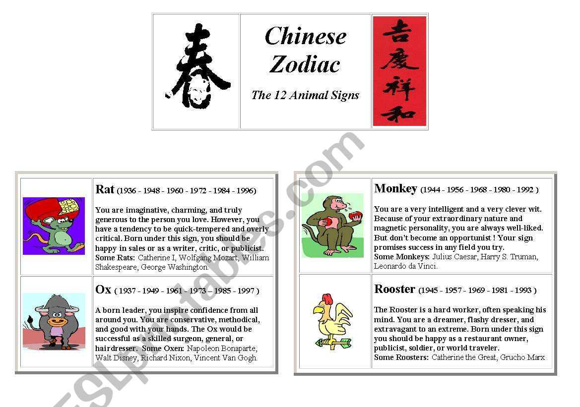Chinese Zodiac Signs - ESL worksheet by aminimi