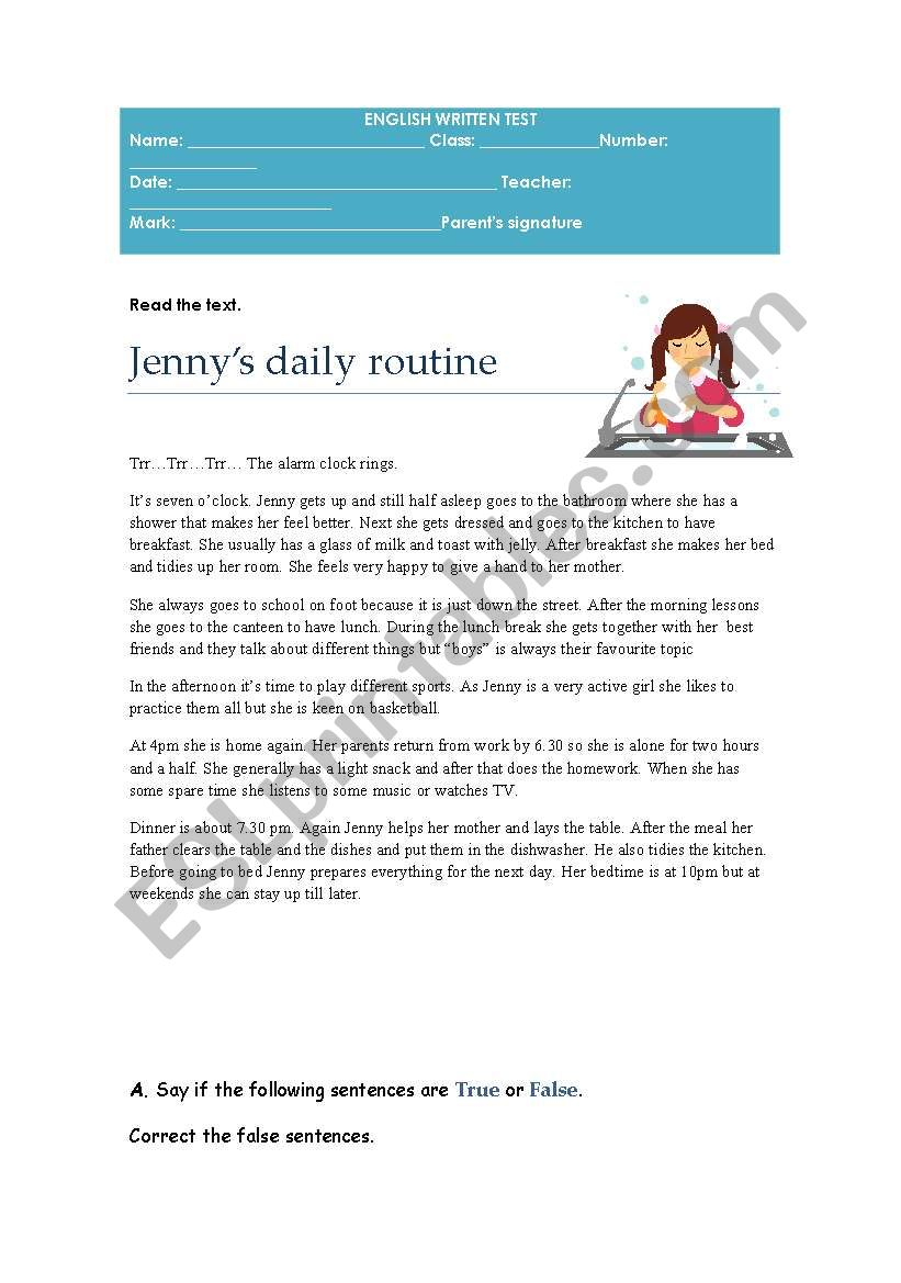 7th year test on daily routine