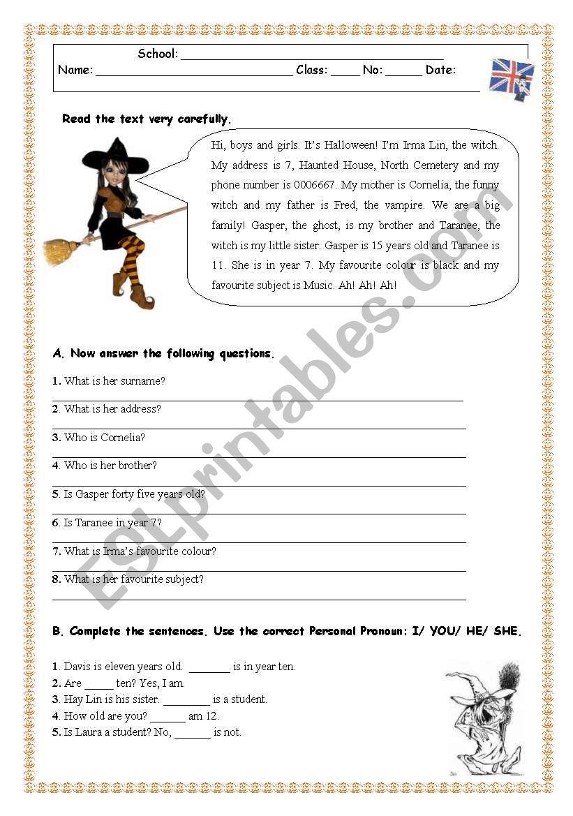 - English Worksheets: Reading Comprehension Test/Worksheet -Family