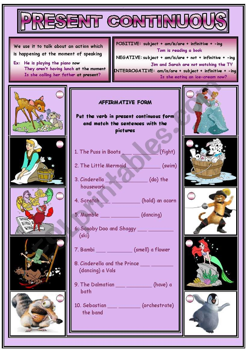 PRESENT CONTINUOUS (2 pages) worksheet