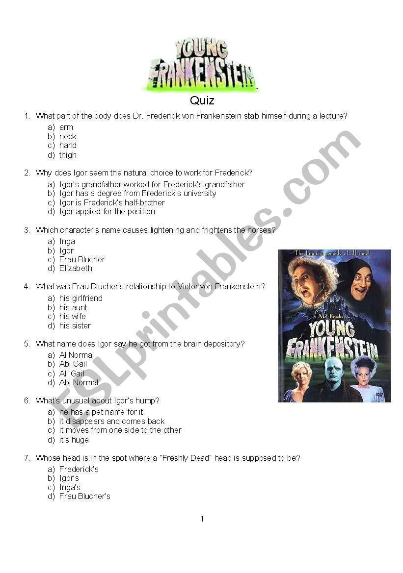 Young Frankenstein Quiz - ESL worksheet by rvm69