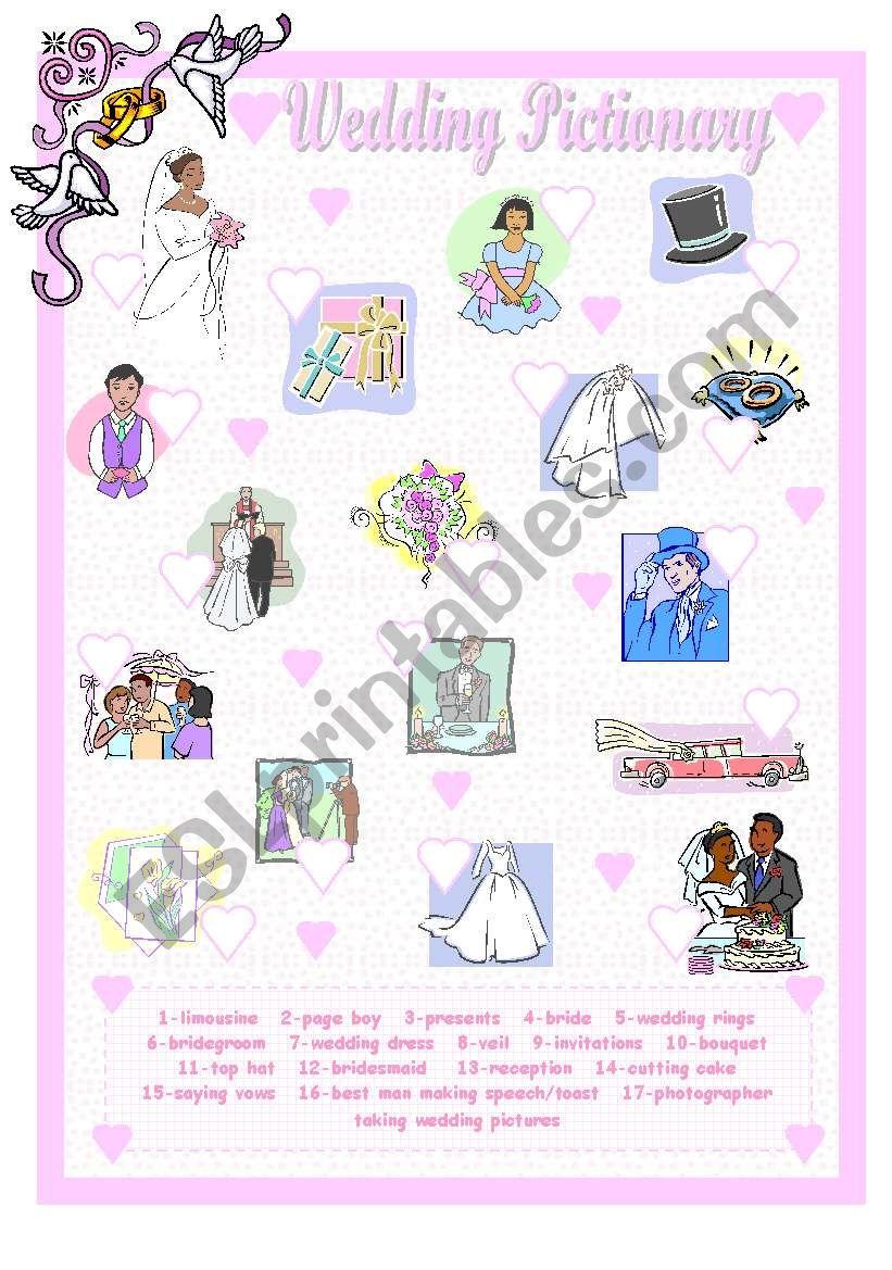 Wedding Pictionary worksheet