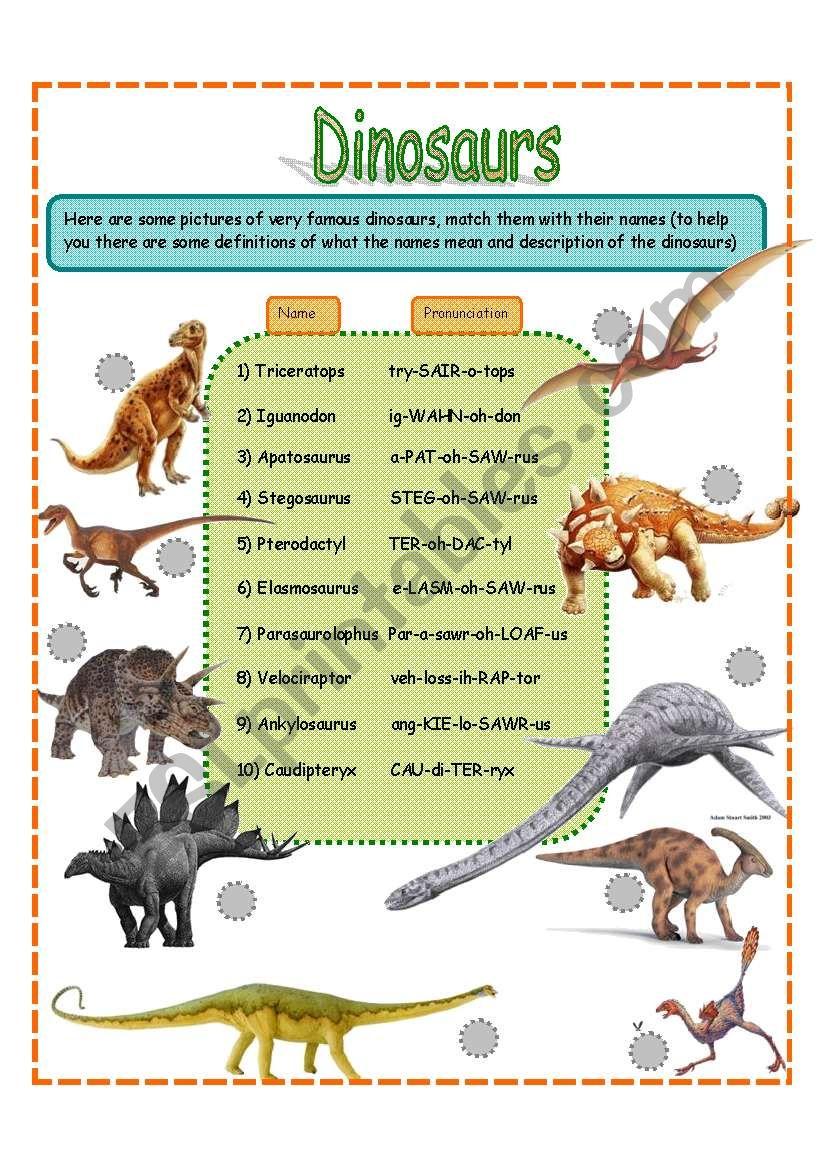 dinosaurs fact worksheet SET 1 (3 pages) - ESL worksheet by jamiejules