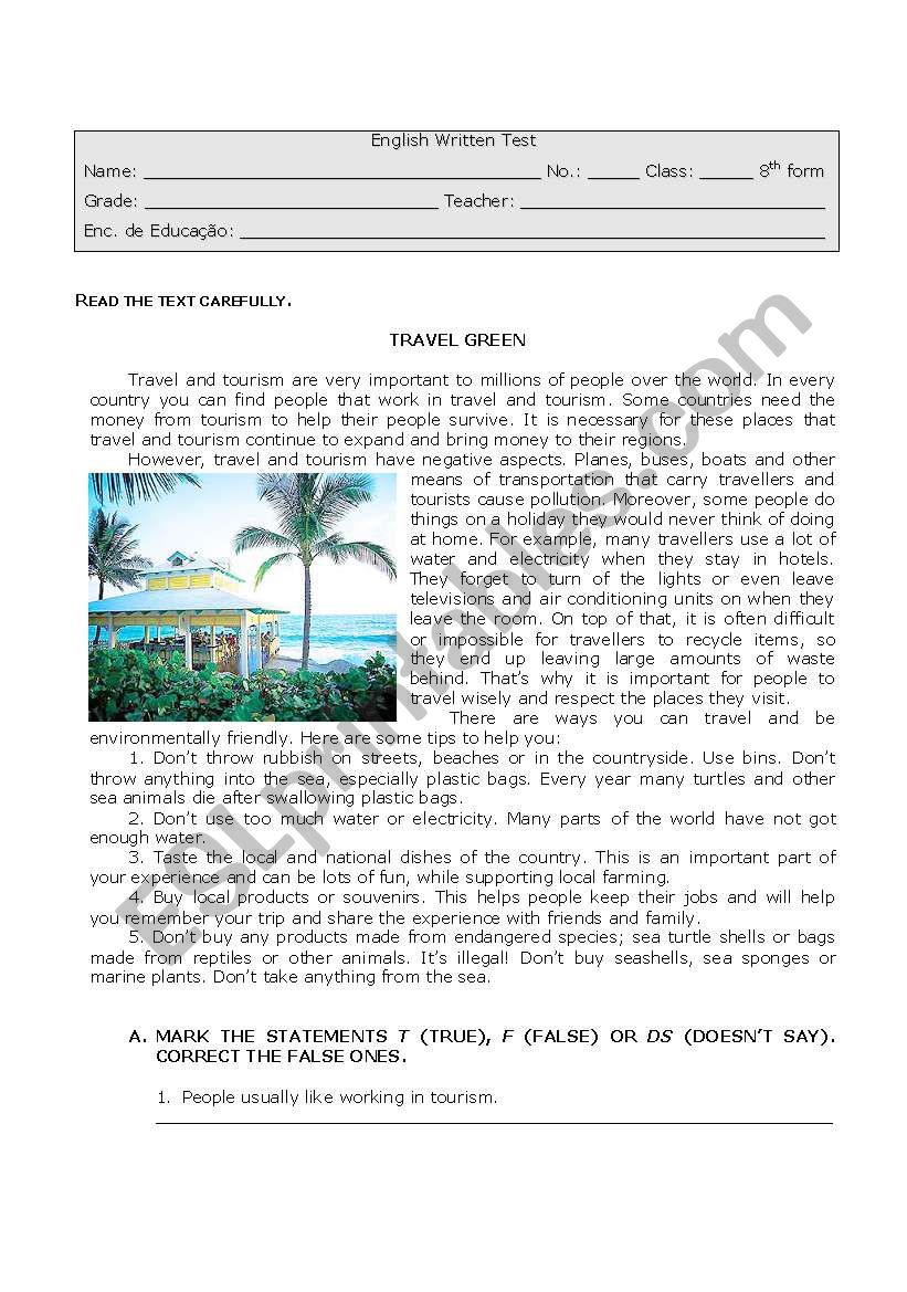 Tourism and the Environment worksheet