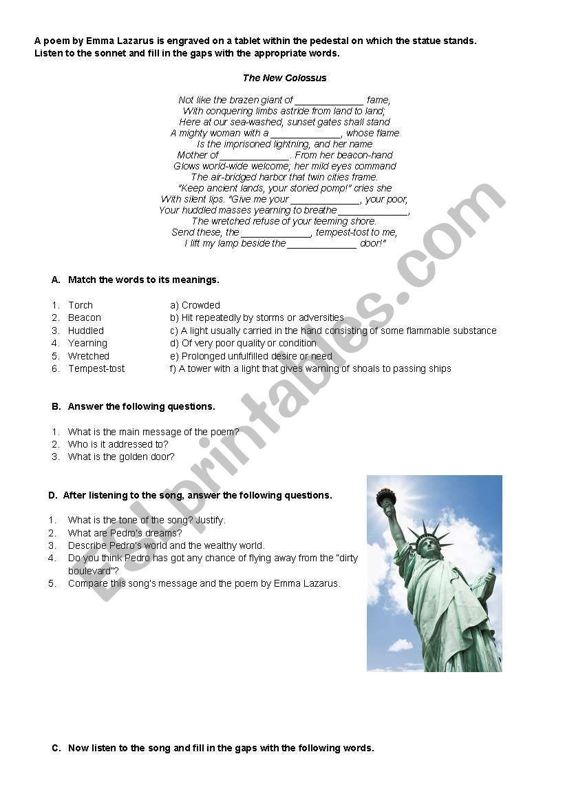 Immigration In The Usa Esl Worksheet By Afonsomeirels