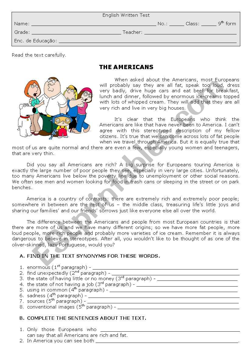 The Americans worksheet