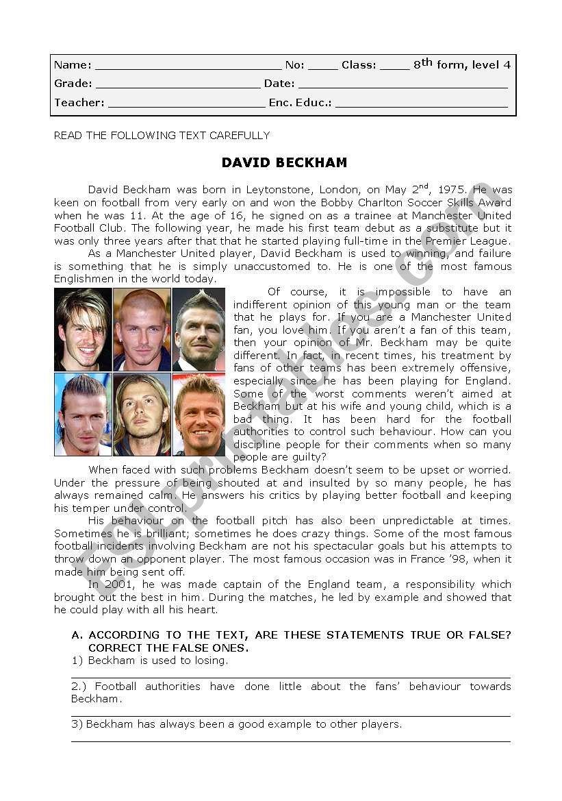 David Beckham worksheet