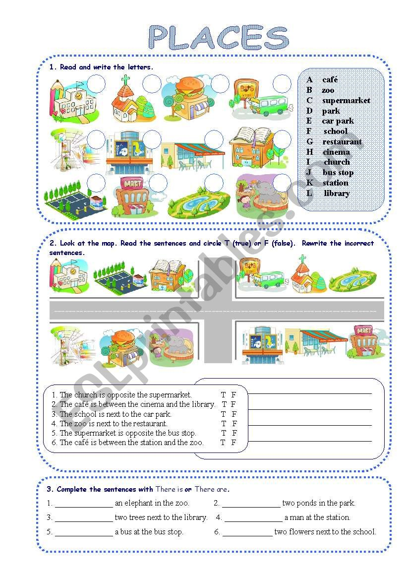 Places in town - ESL worksheet by silvanija