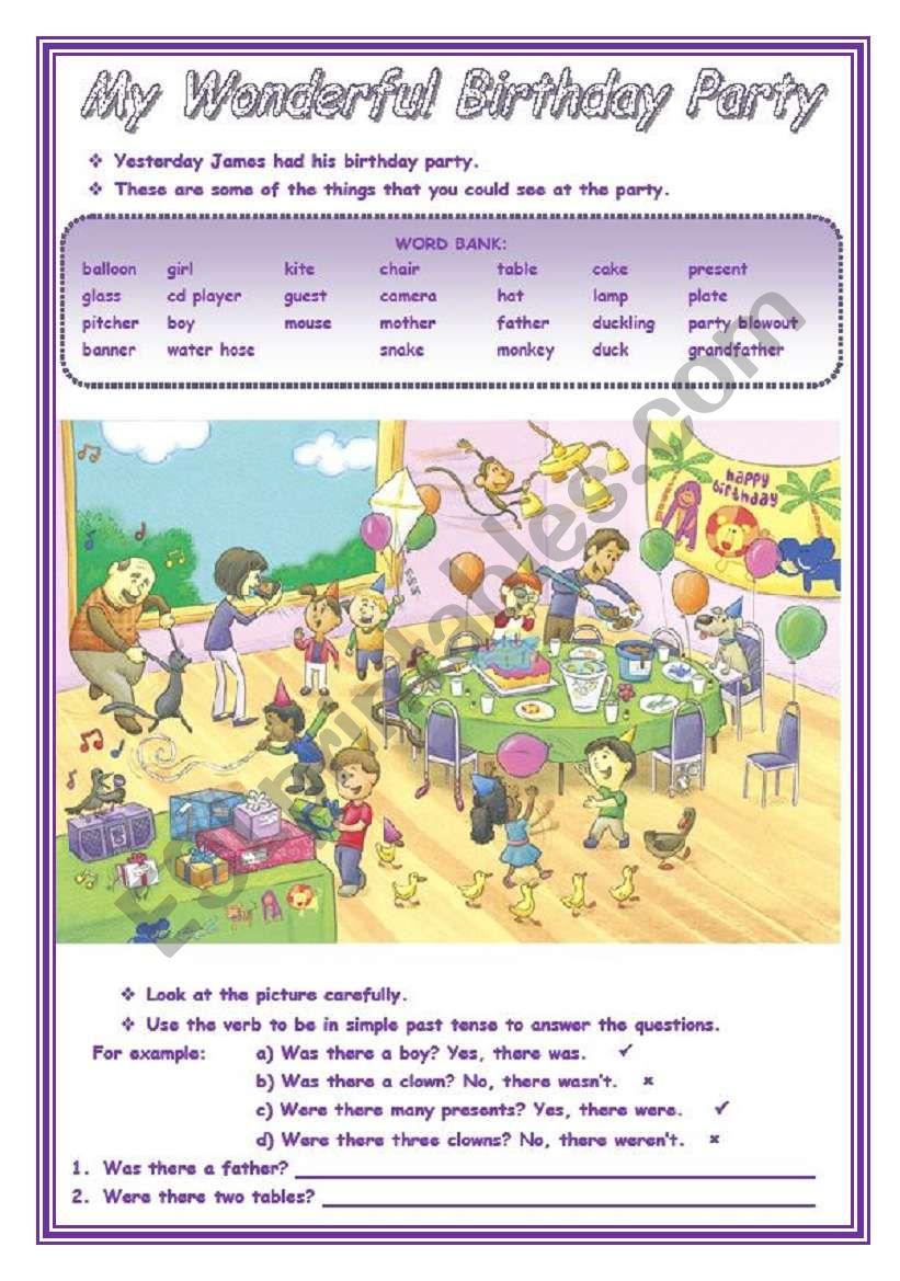 MY WONDERFUL BIRTHDAY PARTY worksheet