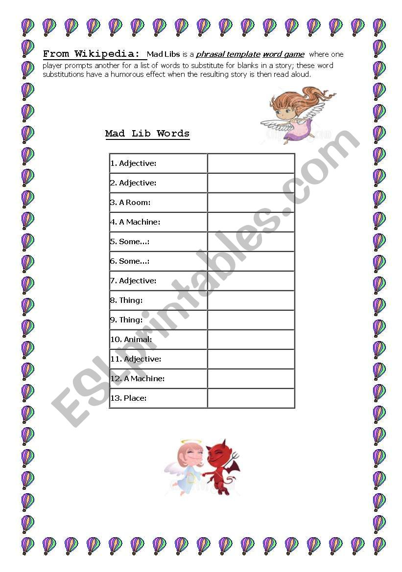 Mad Lib worksheet