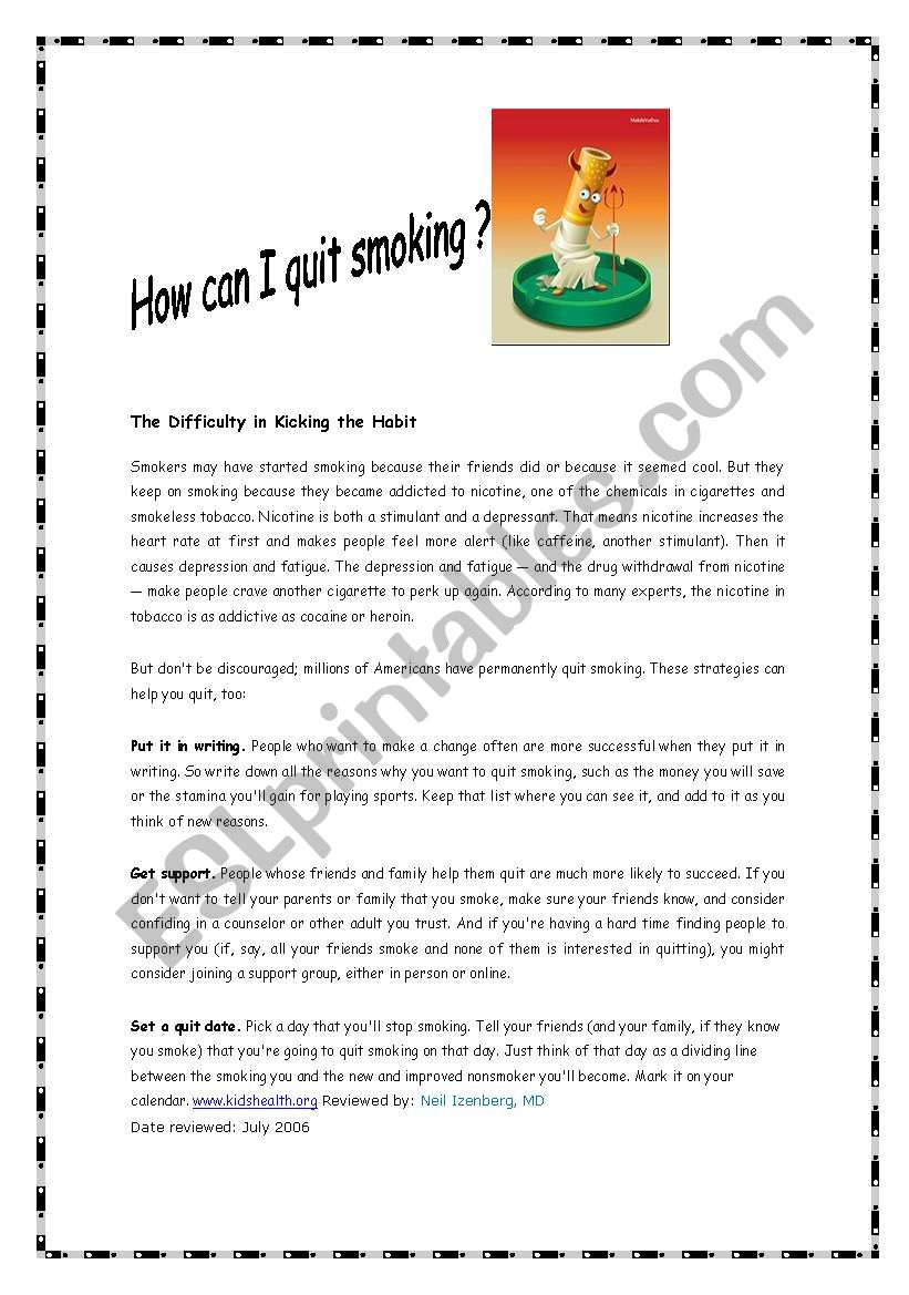 How can I quit smoking ? worksheet