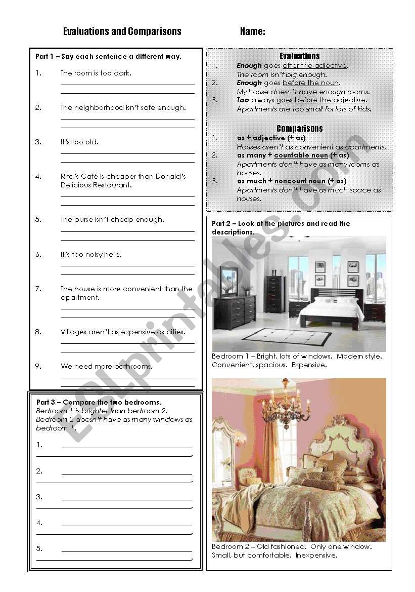 Evaluations and Comparisons worksheet
