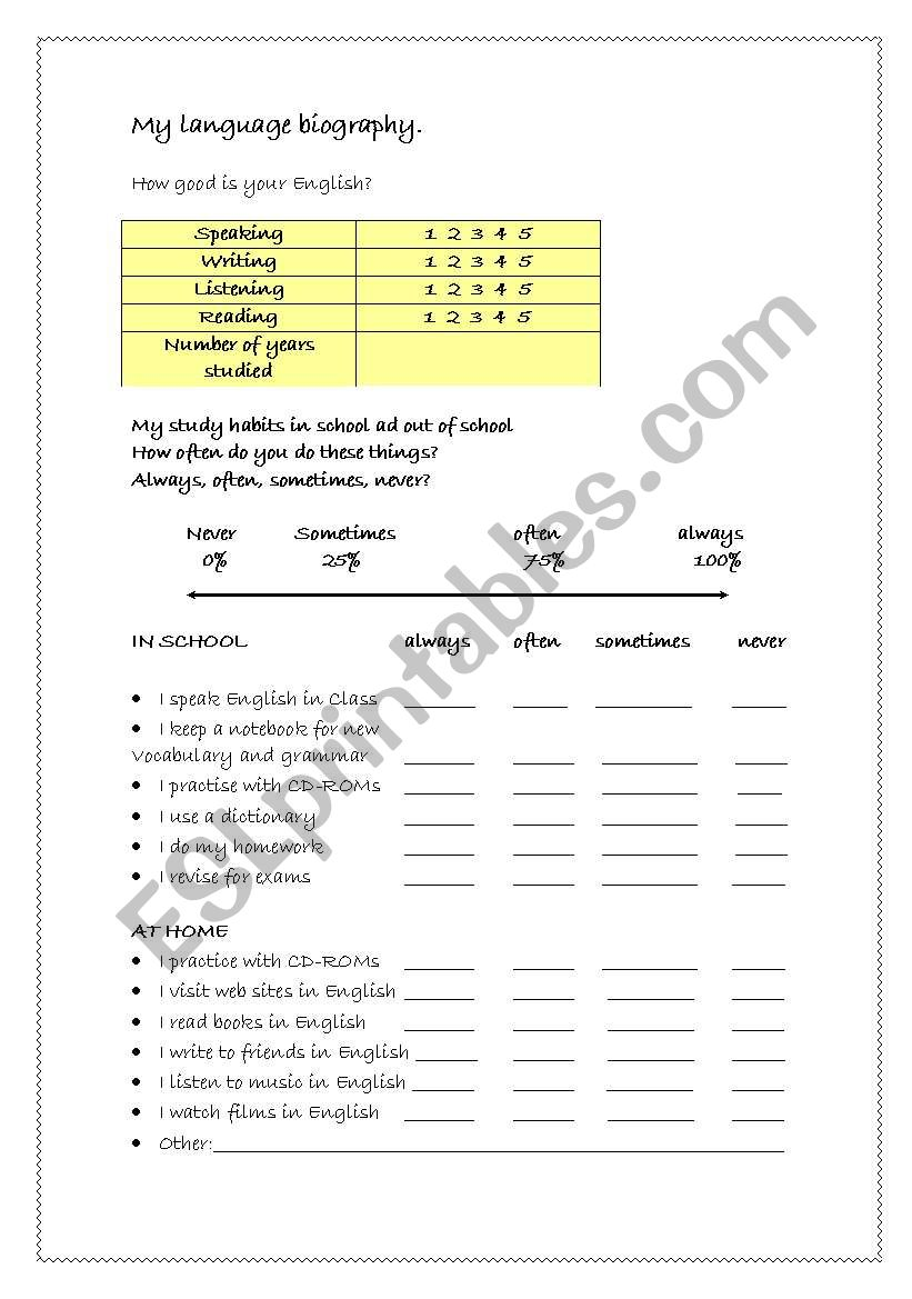 Language biography worksheet