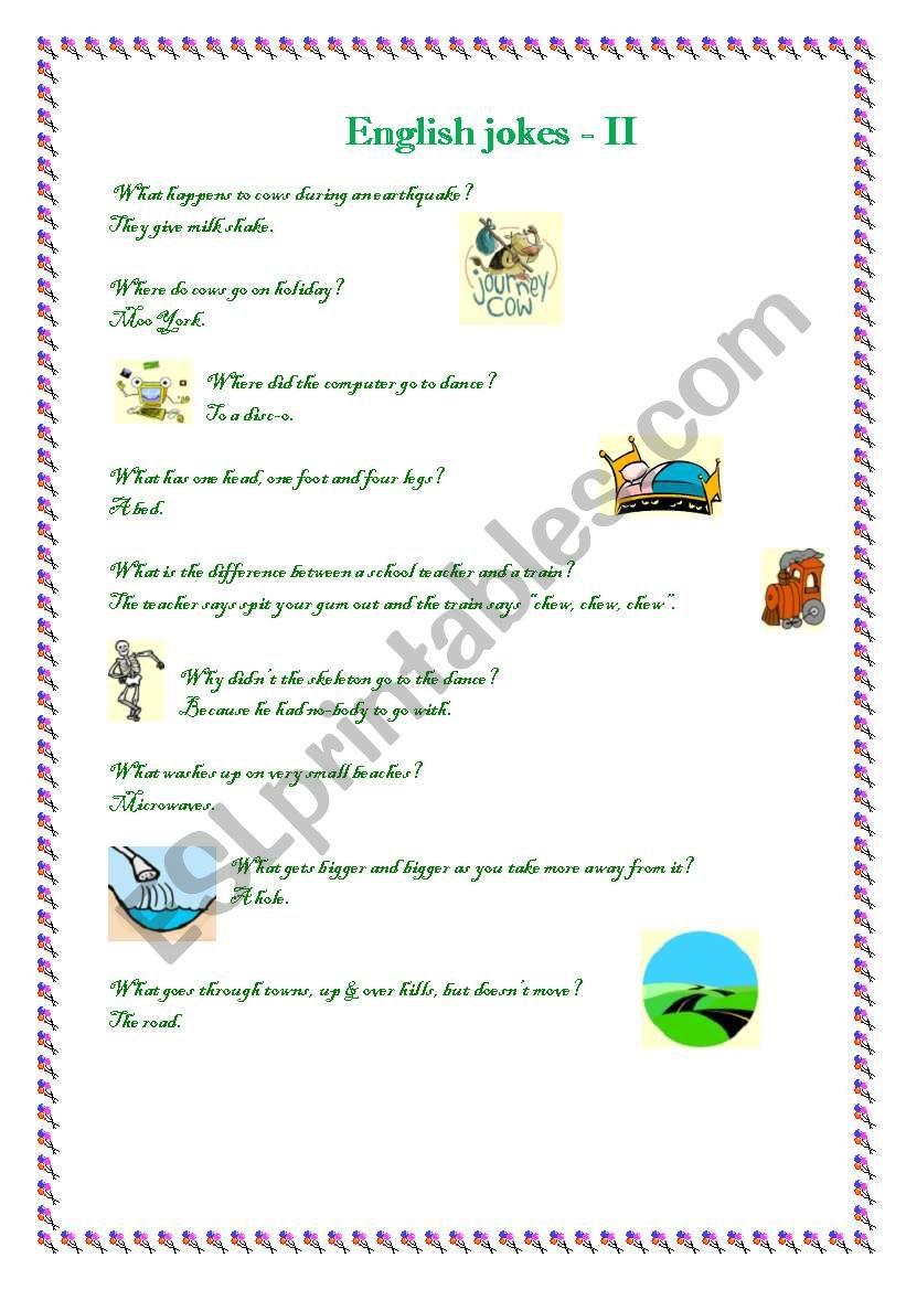 English jokes II. worksheet
