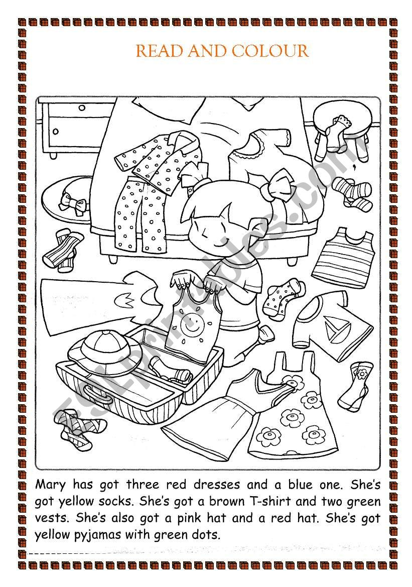 colour the clothes worksheet