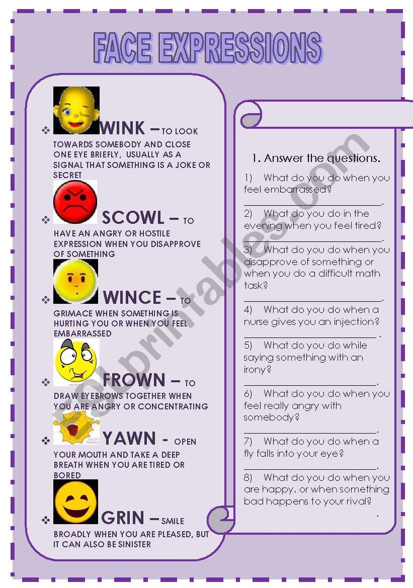 FACE EXPRESSIONS worksheet